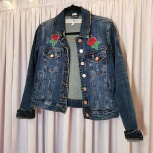 Ashley Mason Embroidered patch Rose Jean Jacket